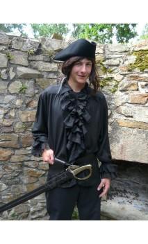 Chemise à jabot Florent noire